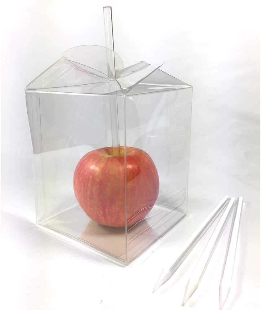 "Weststone Candy Apple Packing Sets - 20pcs 6""x7/32""(6mm) Clear Pointed Sticks and 20pcs 3 1/2""x3 1/2""x4"" Candy Apple Box With twist top"