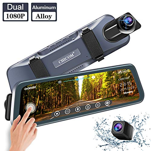 CHICOM 9.66 inch 350 Degree Rotation Mirror Dash Cam Touch Full Screen ; 1080P 170