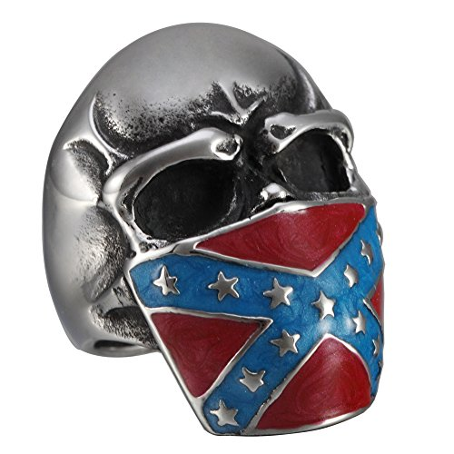 American Flag Ring - Men's Stainless Steel American Flag Cross Mask Skull Ring Gothic Warcraft Tribe Band (11)