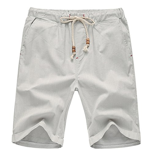 Manwan Walk Mens Linen Casual short 311 (X-Large, Light Grey)