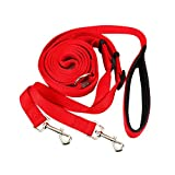 Double Dog Leash - Petroad Two Dog Double Leash With Nylon Red Slippery - Proof Handle- 1 Leash 2 Handles
