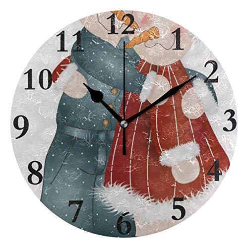 NMCEO Round Wall Clock Hugs-Snow People Acrylic Original Clock for Home Decor ()