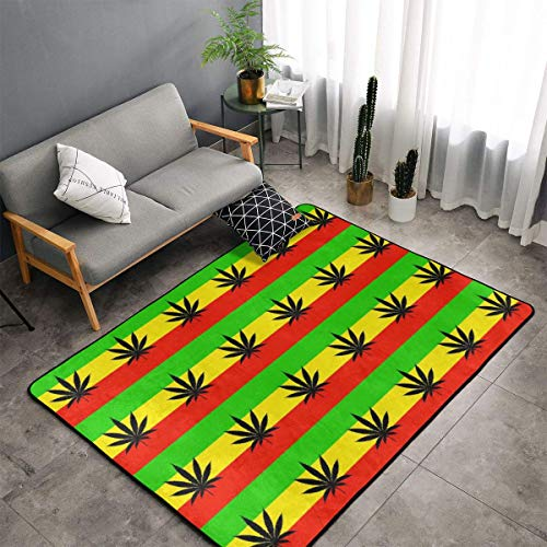 Marijuana Leaf Flags Cannabis Weeds Kitchen Rugs Memory Foam Floor Pad Rugs with Non Skid Rubber Backing, Fast Dry Bathroom Rug Mat Standing Mat Home Art Comfortable Standing Mat