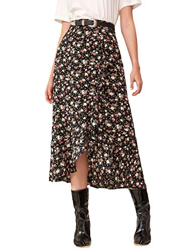 WDIRARA Women's Flowy Ditsy Floral Print Asymmetrical Hem Boho A-line Long Skirt