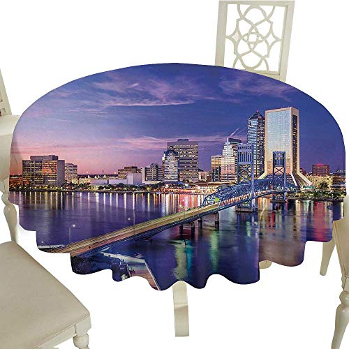 (crabee Round Tablecloth Black United States,Jacksonville Florida Skyline Vibrant Night St. Johns River Scenic,Royal Blue Pale Pink D54,for)