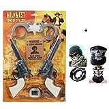 HK Toy Guns Wild West 5PC COWBOY Gun Play Set & SKULL Face Bandana -Twin Holster, Handcuffs, Sheriff Badge, Card & Belt Loop