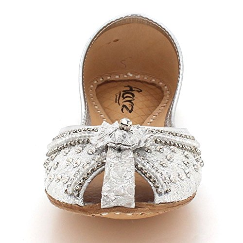 Slip Khussa On Shoes Traditional Women LONDON Bridal AARZ Flat Ladies Pumps Silver Leather Indian Peeptoe Ethnic Handmade Size wOxqwfPZ