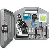 Microscopio para principiantes AmScope M30-ABS-KT2-W kit, Led y iluminación de espejo, incluye set de 49 piezas y caja.