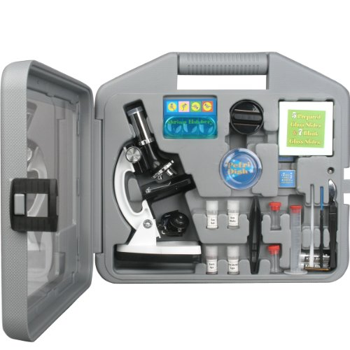 AmScope M30-ABS-KT2-W Beginner Microscope Kit LED and Mirror Illumination 300X 600x and 1200x Magnification Includes 49-Piece Accessory Set and Case White