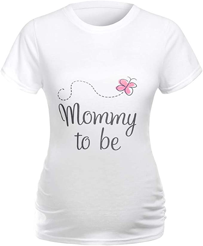 Damen Umstandsmode T-Shirt Tops Lustig Schwangere Mutterschaft Kurzarm Tee Shirt