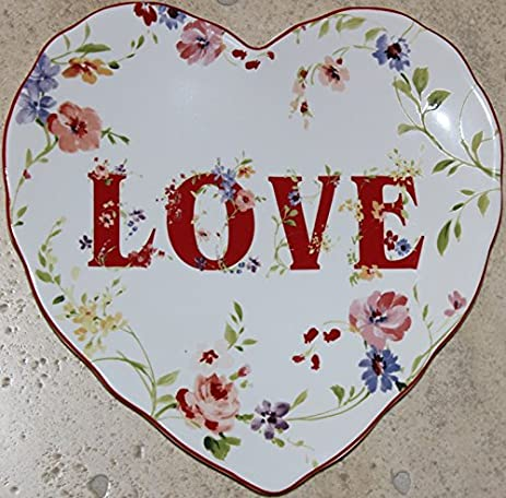 222 Fifth Valentine Love 9u0026quot; Porcelain Heart Shaped Salad/Dessert Plates - Set of  sc 1 st  Amazon.com & Amazon.com | 222 Fifth Valentine Love 9
