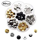 Locking Pin Backs SelfTek 90 Pcs 3 Styles Locking Clasp Pin Butterfly Clutch Badge with 25 Pieces Pins and Storage Case