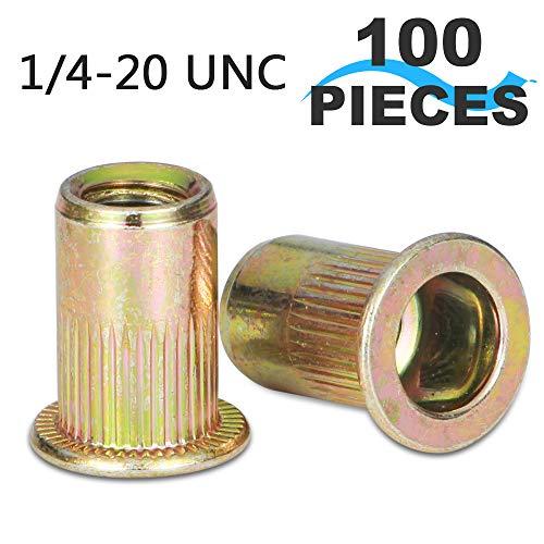 Steel Carbon Body (Rivet Nut, LOKMAN 100 Pieces 1/4-20UNC Carbon Steel Flat Head Rivnut Threaded Insert Nut,Knurled Body (1/4''-20))