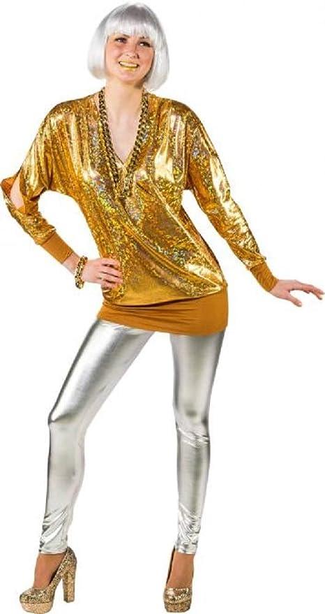 Amazon.com: Ladies 80\'s Metallic Gold Long Cold Shoulder ...
