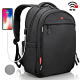Laptop Backpack - Anti Theft Backpack Waterproof Rain Cover - SWISS Design RFID Blocking - USB Charging Port - Business College Travel School Backpack - Black Backpack for Men Women 15.6 inch