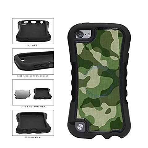 BleuReign(TM) Army Green Camoflauge 2-Piece Dual Layer Phone Case Back Cover For Apple iPod Touch 5th (Real Tree Camo Case For Ipod 5)