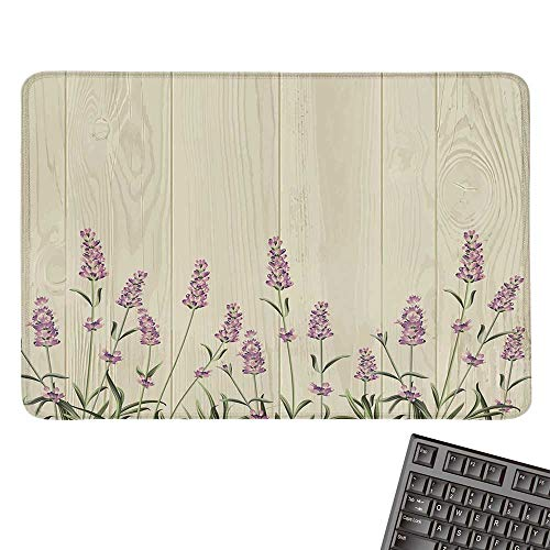 Lavendercomputer Mouse padAromatic Herbs on Wooden Planks Springtime Nature Botany IllustrationBlack Cloth Mousepad 15.7