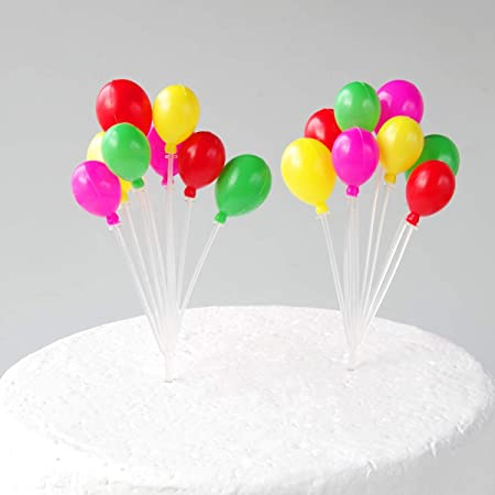 Awesome Maygone 2 Pack Plastics Rainbow Balloons Cake Toppers Birthday Funny Birthday Cards Online Alyptdamsfinfo