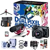 Canon EOS M6 Mirrorless Camera Video Creator Kit w/EF-M 15-45mm Lens, Rode Mic, 32GB SD Card Black - Bundle w/Holster Case, Table Top Tripod, Cleaning Kit, Memory wallet, 49mm Filter Kit, Software
