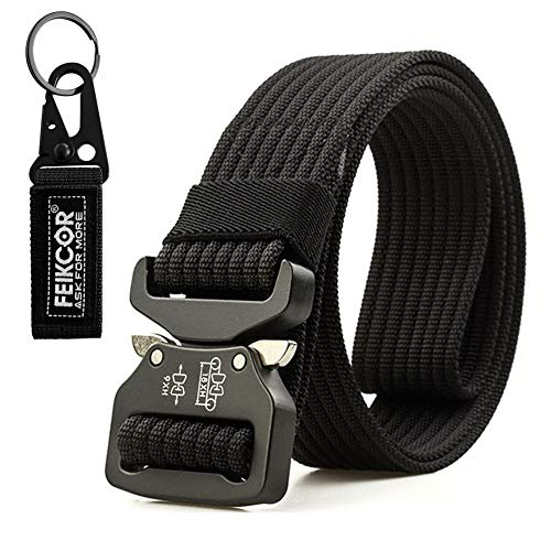 c2975519ea24 Tactical belt Military Nylon Webbing Belt with Heavy Duty Buckle for Mens  (Black-2