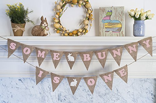 First Birthday Party Banner with Pink Easter Bunnies -