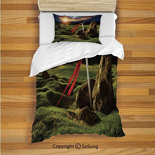 SoSung King Kids Duvet Cover Set Twin Size, Arthur Camelot Legend Myth in England Ireland Fields Invincible Sword Image 2 Piece Bedding Set with 1 Pillow Sham,Green Blue and Red (Camelot Twin Bed)