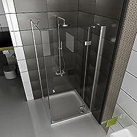 Ducha de esquina mampara de ducha de cuatro-esquina plaza final de 6 mm de cristal ducha con 90 x 195 - cristal: Amazon.es: Bricolaje y herramientas