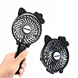 Mini Portable Handheld Fan, OXOQO Personal USB Foldable Desktop Table Fan Built-in 2500mah Rechargeable Battery for Room Office Outdoor Travel Camping( Cat Ears)