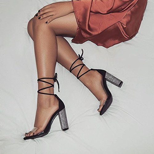 da Alti Nero Partito Estate Peep Caviglia Cinghia Scarpe Strass Trasparente Tacchi con per Donne Lace Toe Sandali ZKOOO Sera Sandalo Signore up gp4Uqp