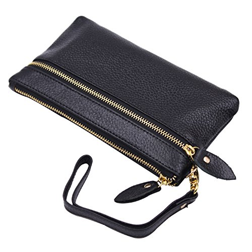 Price comparison product image ARRIZO RFID Blocking Genuine Leather Credit Card Holder Wallet for Women (Black)