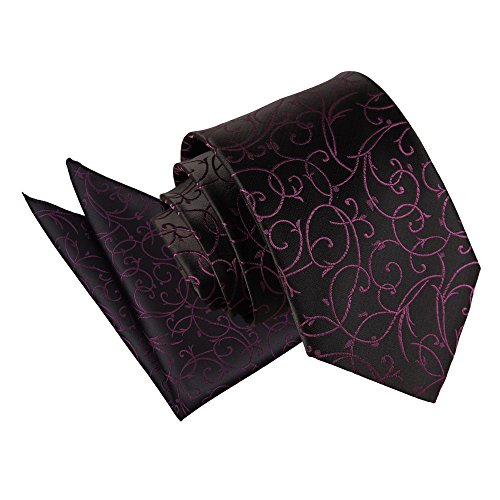 Hanky Black Patterned Men's Swirl Floral DQT Purple Tie Wedding Cufflinks amp; BwqYWpg