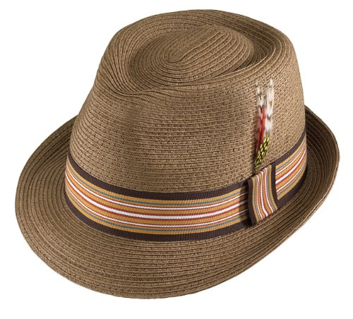 Large Brown Gentleman Fine Braided Fedora with Grosgrain Striped Band