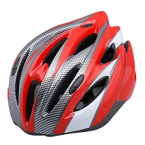 Adult Road Cycling Helmet and Mountain Bike Helmet with Visor Cycling Pc EPS Protecting Vented Design Lightweight MTB Helmet Pad Adjustable Size - Red