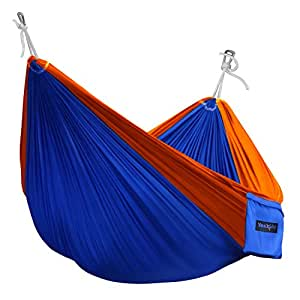 Ultralight Nylon Parachute Breathable Single Hammock with Tree Straps (Optional), Carry Bag Included-Best hammock for Camping,Backpacking,Travel,Beach,Garden - Blue/Orange, Single with tree strap