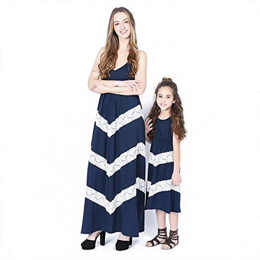 3aee70d83 PatPat Mommy and Me Maxi Dresses, Sleeveless Stripes Matching Dresses for  Daughter and Mom (Kids: 8-9 Years, Navy) at Amazon Women's Clothing store: