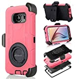 S6 Case, Galaxy S6 Case, Aitech Ultra Shock&drop-proof Amy-grade Protective Hard Defender Case and Three Layer Hard Shell Cover Holster with 360 Degree Rotating Ring Bracket Protective Case for Samsung Galaxy S6-- TPU Rubber & Silicone Case with Stand & Clip for Samsung Galaxy S6 (Pink+Black)
