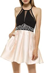 6d2155212ce Teeze Me Juniors Halter Illusion V Beaded Empire Waist Party Dress with  Pockets