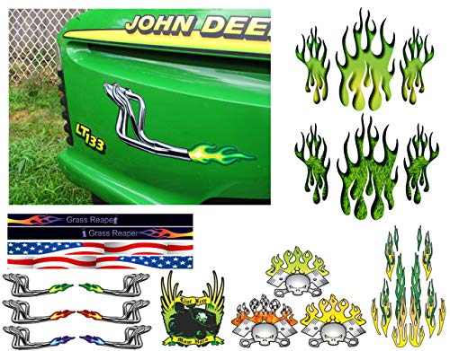 East Coast Vinyl Werkz Lawn Mower Hood Decals - Pick Style - for John Deere Lawn Garden Tractors (2pc Racing headers w/Green & Yellow Flames)