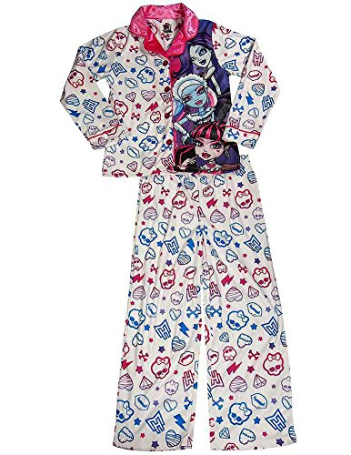 Monster High - Big Girls Long Sleeve Pajamas, White 37804-7/8 (Monster High Girls Names)