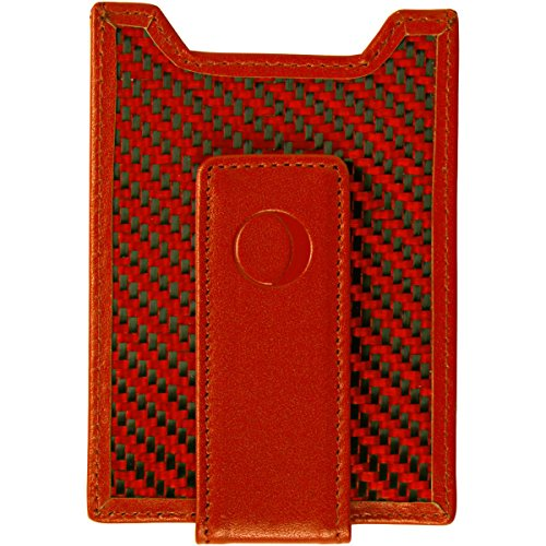 idclipz Slim Secure Money Clip Wallet, Red Carbon Fiber and Leather with RFID Credit Card Holder