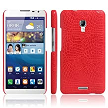 Huawei Mate 2 Case, HL Brothers [Ultra Slim] Premium Crocodile Pattern Lightweight Leather Phone Protective Case Cover for Huawei Ascend Mate 2 Smartphone (Crocodile Cover Red)