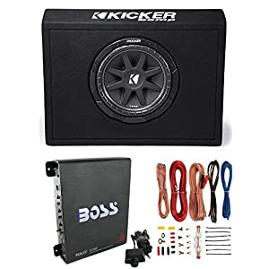 "New Kicker 43TC104 10"" 300W Subwoofer + Sub Box + Boss R1100M 1100W Amp +Amp Kit"