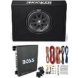 """New Kicker 43TC104 10"""" 300W Subwoofer + Sub Box + Boss R1100M 1100W Amp +Amp Kit"""