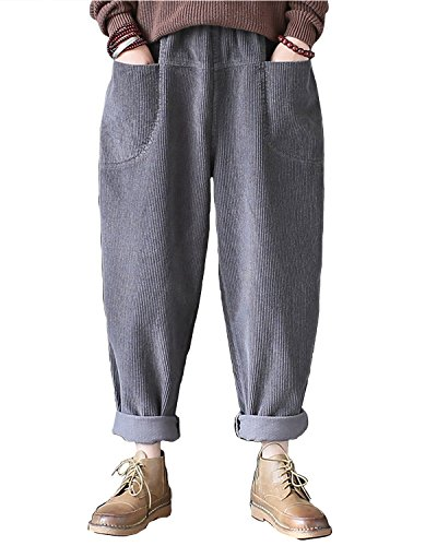 Aeneontrue Women's Casual Corduroy Carrot Pants Trousers Front Pockets with Elastic Waist