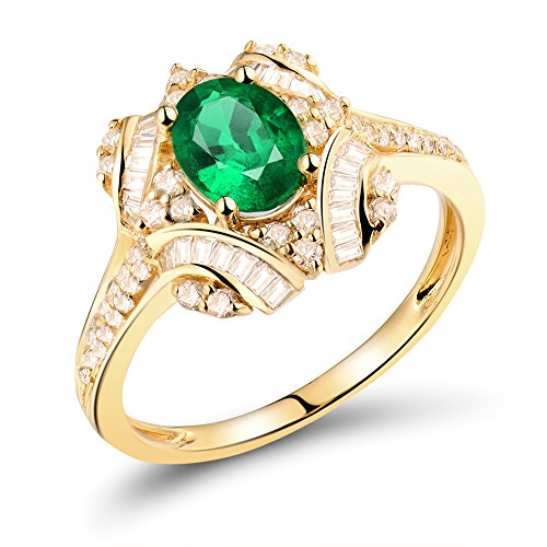 - Lanmi Fantastic 14K Solid Yellow Gold Diamond Emerald Engagement Gemstone Ring
