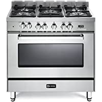 Verona VEFSGE365NSS 36 Freestanding Dual Fuel Range with 5 Sealed Burners in Stainless Steel
