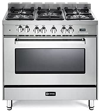 "Amazon.com: Verona VEFSGE365NSS 36"" Freestanding Dual Fuel Range with 5 Sealed Burners in"