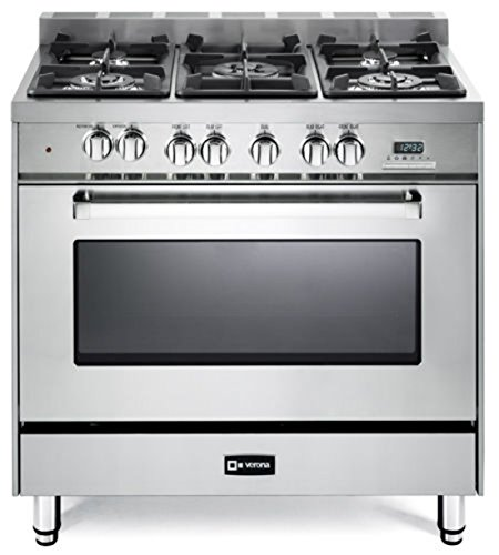 Verona VEFSGE365NSS 36″ Freestanding Dual Fuel Range with 5 Sealed Burners in Stainless Steel