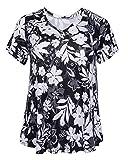 ZERDOCEAN Women's Plus Size Printed Stretchy Short Sleeve V Neck Swing T Shirt 809 4X