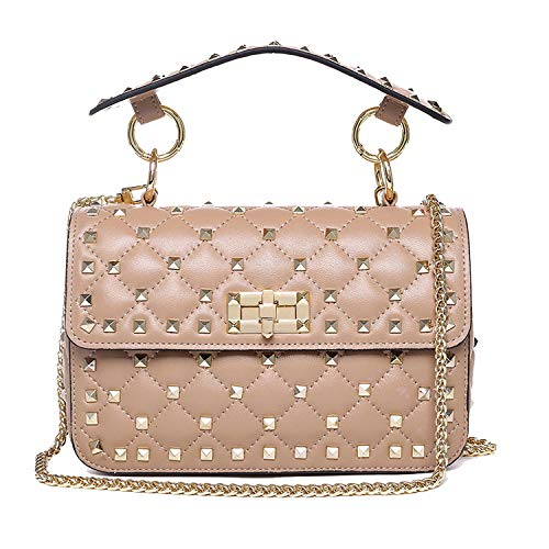 Lambskin Studded Spike Bag Quilted Chain Studs Handbag Genuine Leather Rivets Crossbody Shoulder Purse(Khaki)